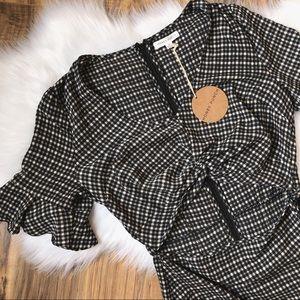 Honey Punch Cutout Bell Sleeve Gingham Mini Dress